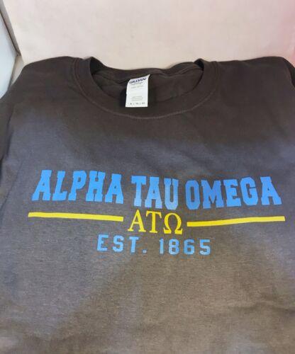 Alpha Tau Omega Fraternity T-Shirt- Gray- Size Large-New!