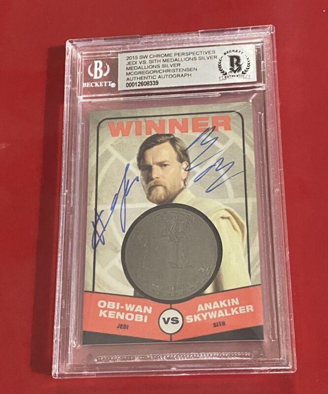 Ewan McGregor Hayden Christensen Dual Autographed Card STAR WARS 056/150 BECKETT