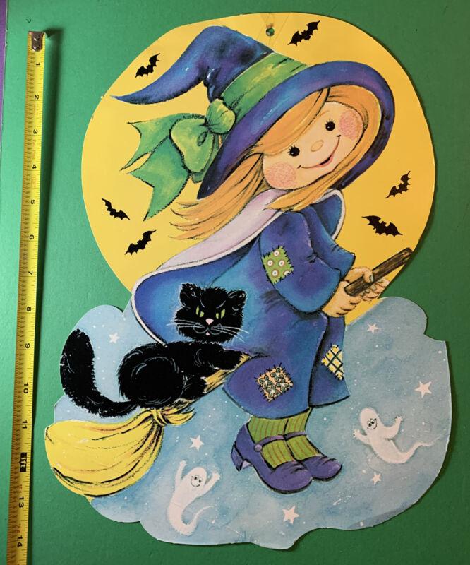 "Vintage 1980s HMS Halloween WITCH Riding Broom W Cat 80s Die Cut 14"" Decoration"