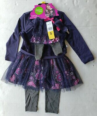 Dollie & Me Girls Tunic Leggings with Matching Doll Outfit Navy Floral Size 4-10