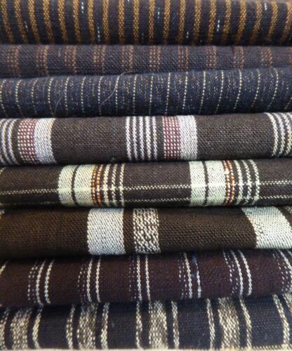 Japanese Cotton Shima Stripes, Kimono Fabric, Scrap Remnants, 8 Piece Bundle