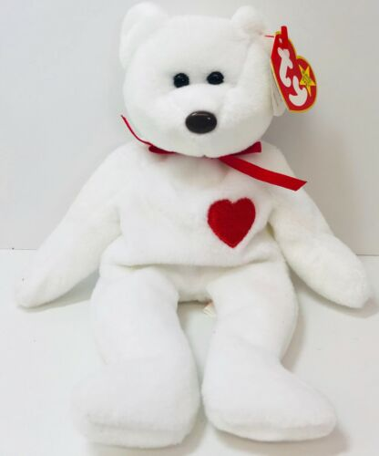 Valentines Day Bear Stuffed Plush White Red Beanie Baby Valentino Present Animal
