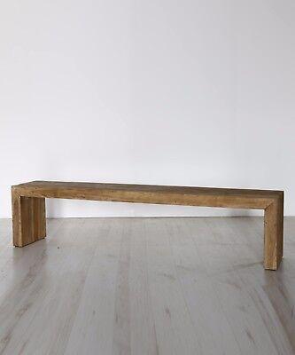 Vecchia panca panchina in legno Teak cm 200x35 h 48 Vintage Unica
