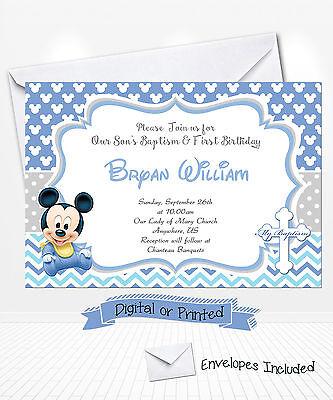 PRINTED Baby Mickey Birthday Invitations Mickey Baptism Invitations Christening Baptism Birthday Invitations