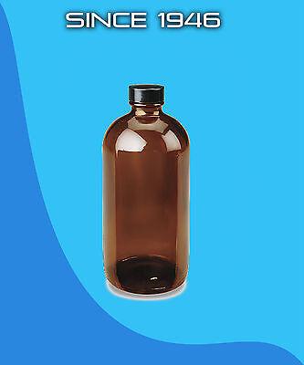 16 Oz. Amber Boston Round Glass Bottle