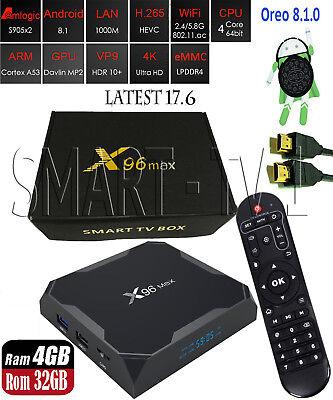 X96Max Smart TV Android 8.1 Quad Core 2.4G WiFi BT H.265 Smart TV Box 4GB+32GB