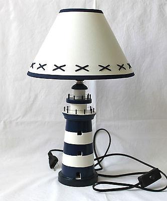 Tischlampe Lampe Leuchtturm blau-weiss 40cm Stehlampe Holz