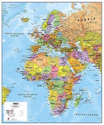 Europa Naher Osten Afrika EMEA politische Karte Poster Größe & Finish-Optionen