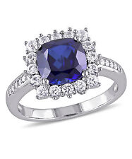 Sterling Silver Created Blue and White Sapphire with Diamond Accent Ring
