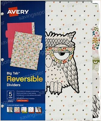 Avery Big Tab Reversible Paper Fashion Dividers 5-tabs 5 Colors Designs Owl