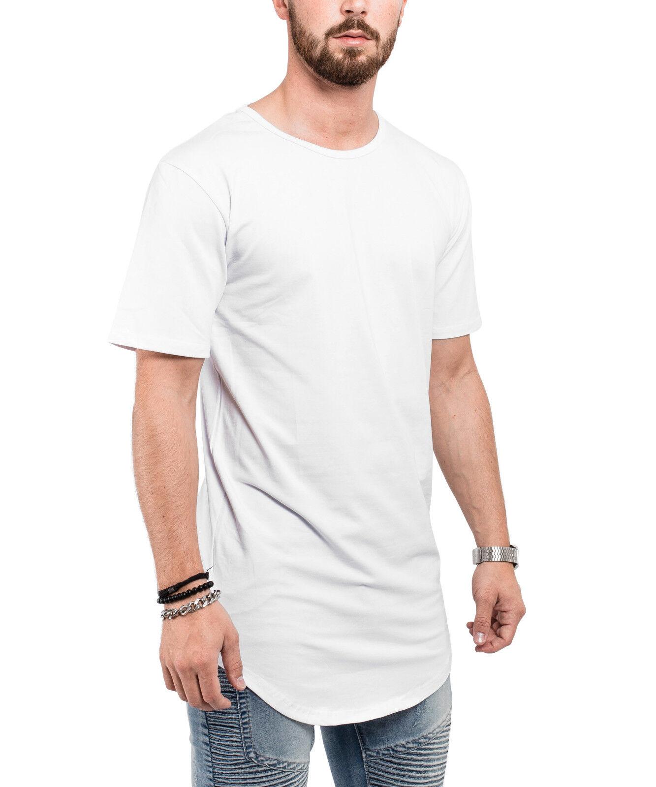 b61110481811 Kleidung & Accessoires Blackskies Round Longshirt T-Shirt Weiß Long Basic  Herren Oversized Longline Tee