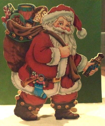 VINTAGE SAN FRANCISCO MUSIC BOX COMPANY WOOD ANIMATED & MUSICAL SANTA - RARE!