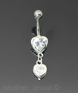 REAL 925 STERLING SILVER HEART DROP SURGICAL STEEL NAVEL BELLY CURVED BAR RING