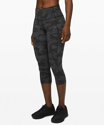 Lululemon Women's Fast Free High Rise Crop ICMG Incognito Camo Multi Grey