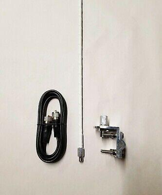 SINGLE 3 ft White FLEX CB Radio Antenna kit w mount + 9' coax cable