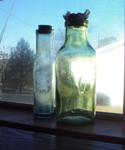 2 Antique Green Glass Bottles