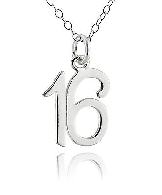 16 Sixteen Charm Necklace - 925 Sterling Silver - Birthday Anniversary Number