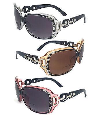 Rhinestones Womens Bifocal Readers Reading Sunglasses Glasses Tint UV (Sunglasses Readers Women)