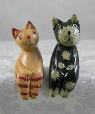 delightful pair of hand painted primitive shelf sitter kitty cats