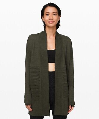 Lululemon Women's Sit In Lotus Wrap II Sweater HDOL Heathered Dark Olive 10