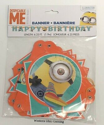 Despicable Me 6.25' Happy Birthday Banner NEW Minions Party Supplies - Minions Birthday Party Supplies