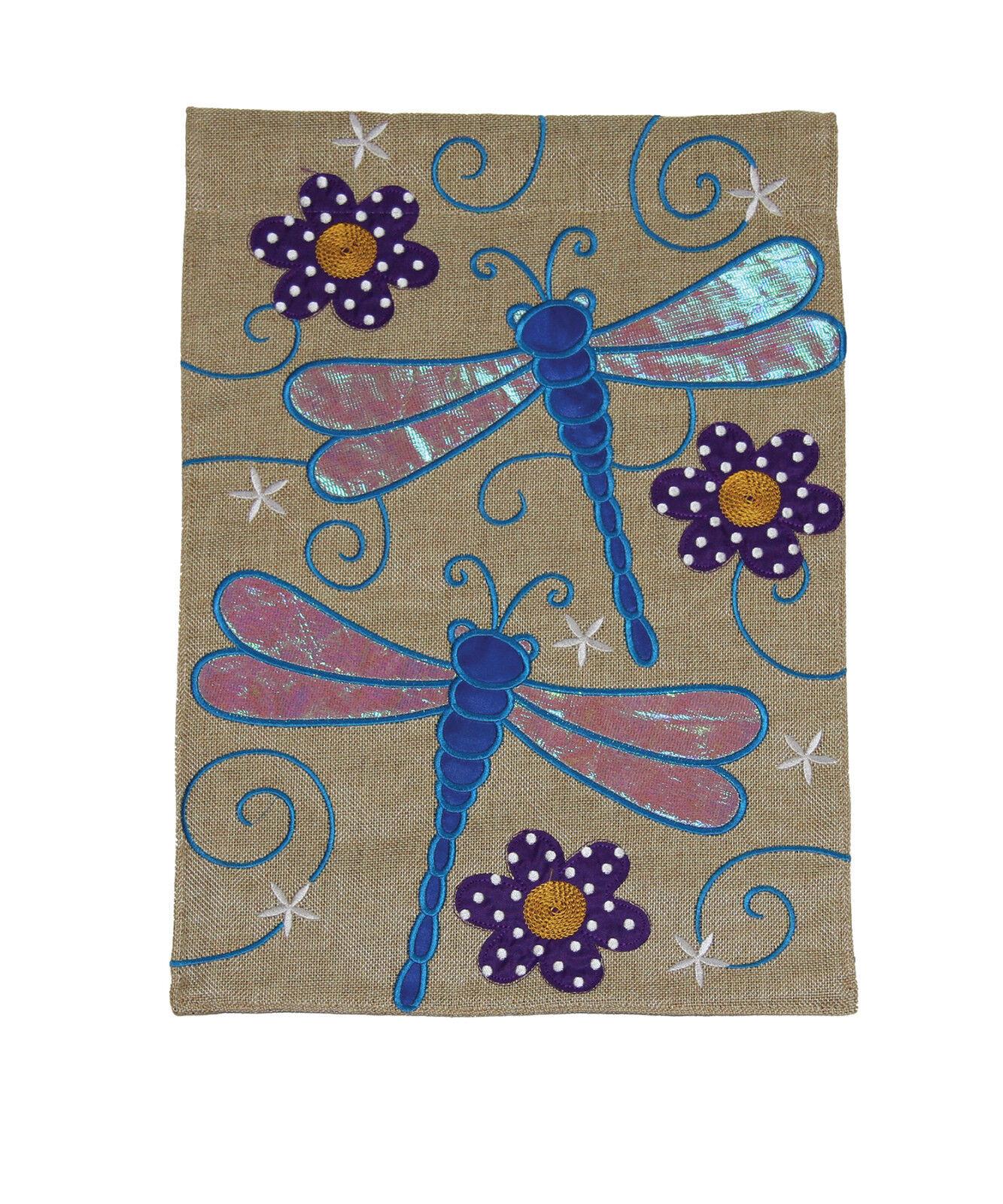 Toland Sparkle Dragonfly Burlap 12 x 18 Cute Flower Garden F