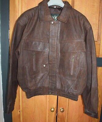 NEW Mens 90s Vintage Brown Leather Bomber Aviator Jacket - Large