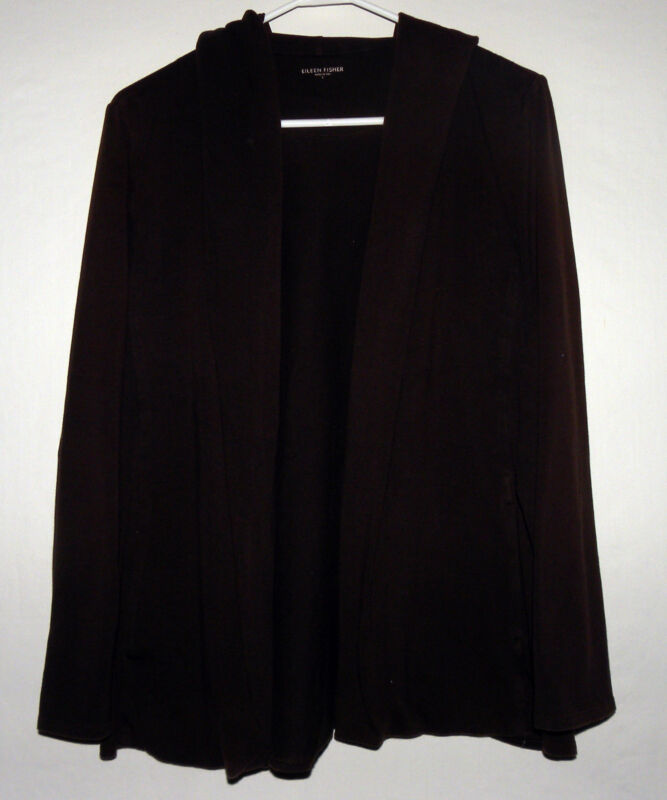 Womens Eileen Fisher Organic Cotton No Button Cardigan Sweatshirt in Brown
