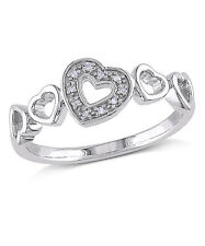 Sterling Silver Diamond Accent Heart Ring H-I I3