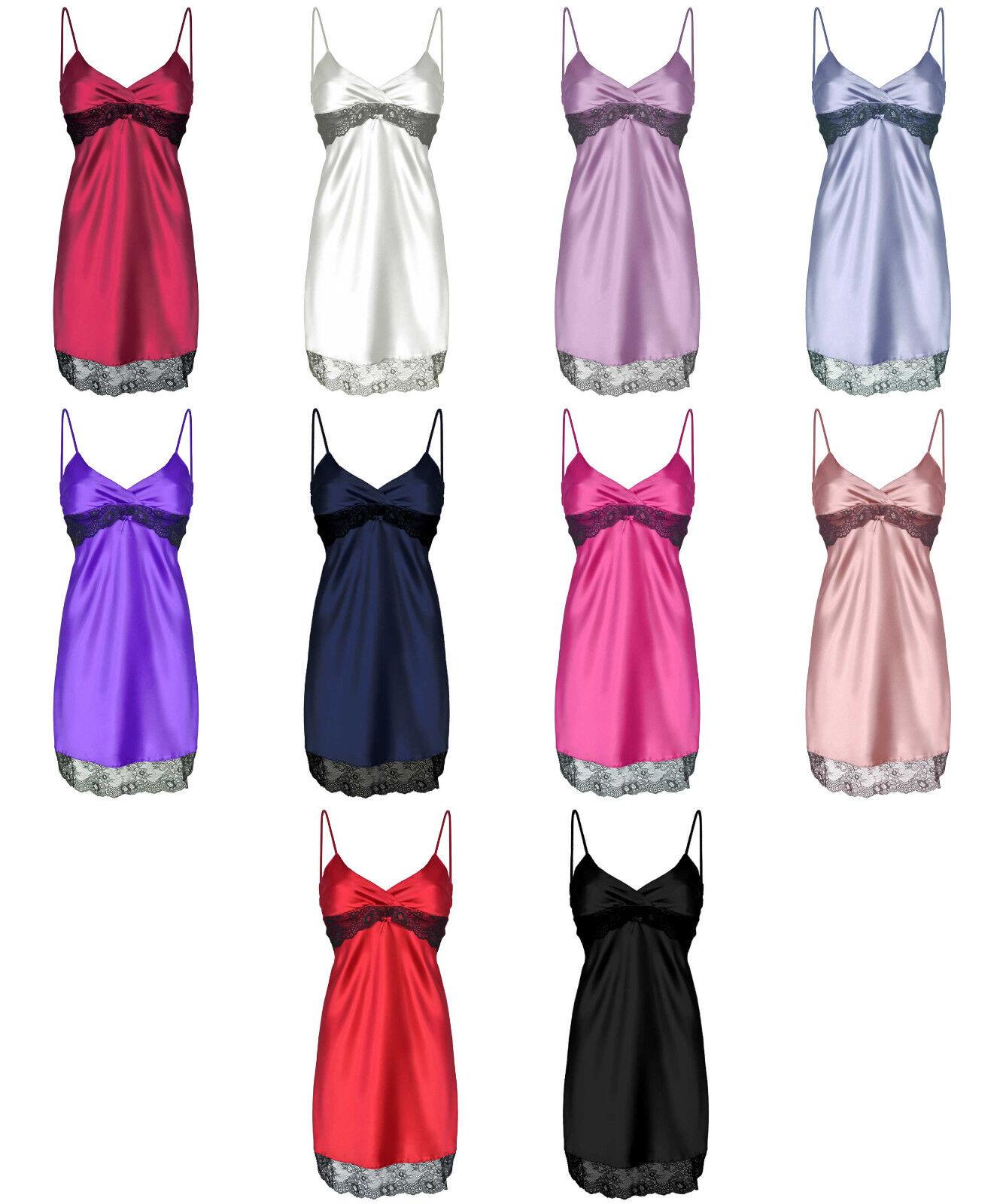 Damen Satin Nachthemd Negligee hochwertiges Trägerkleid mit edler Spitze Otylia