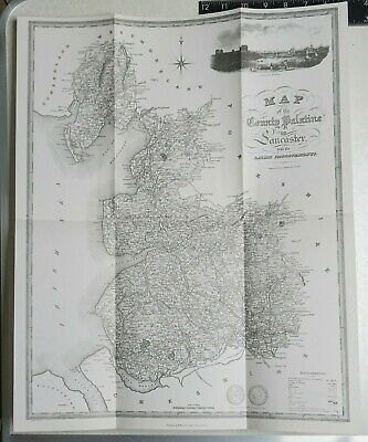 1824 Map of the County Palatine of Lancaster- Reproduction 1969