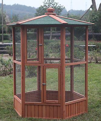 6 ft New Wooden Aviary Hexagonal Flight House Cage Ideal for Birds Chipmunks Cat