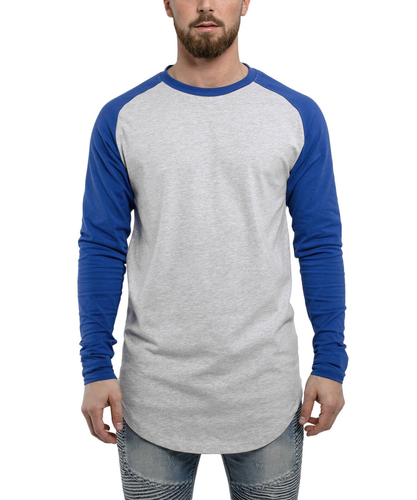Blackskies Baseball T-Shirt Longshirt Grau-Blau Longline Herren Men Long Basic
