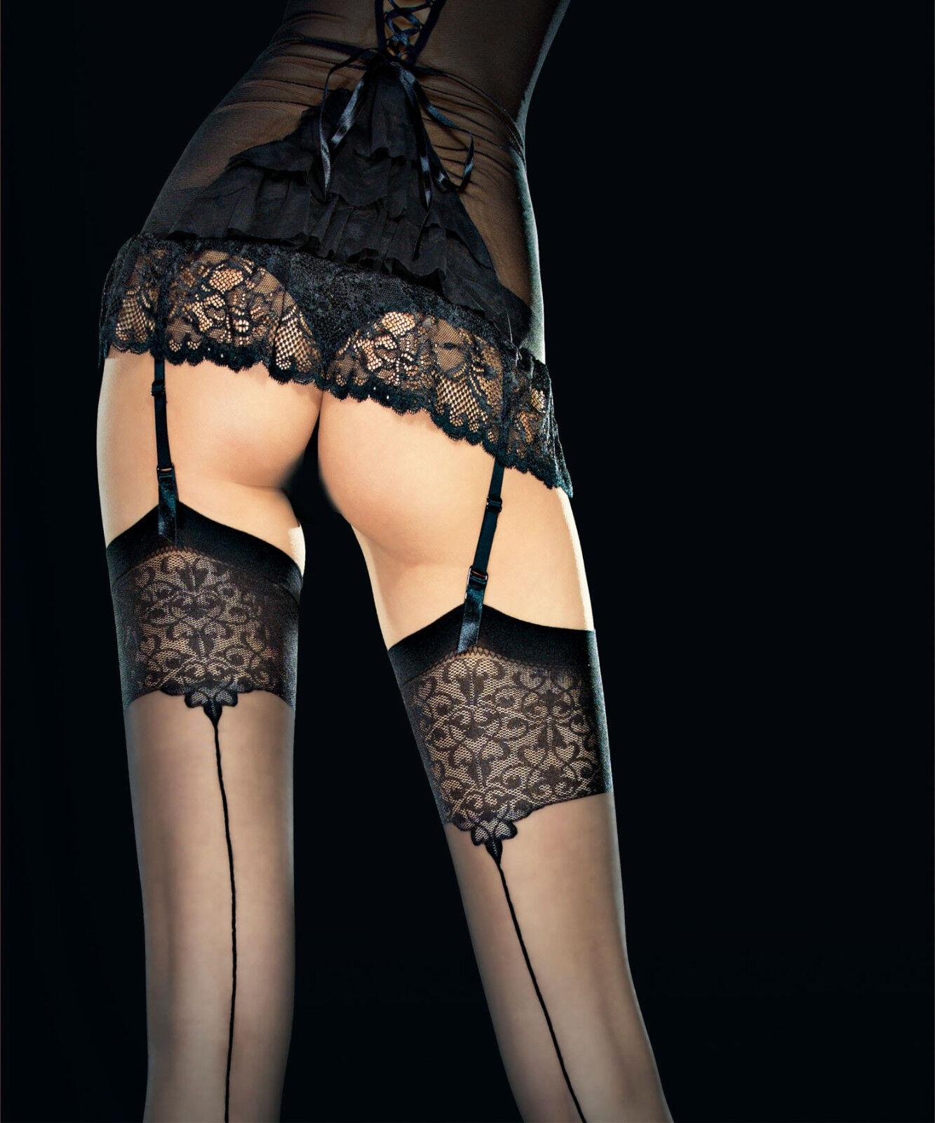 Bas sexy nylon couture Fiore pour porte-jarretelles femme T2 T3 T4 20 den vesper