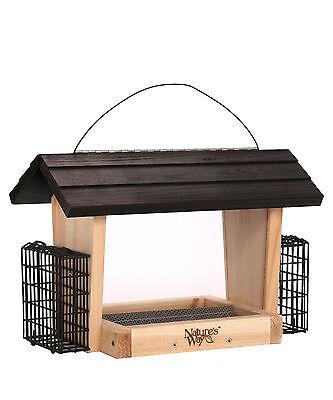 Nature's Way Bird Products CWF19 Cedar Hopper Bird Feeder with Suet Cage