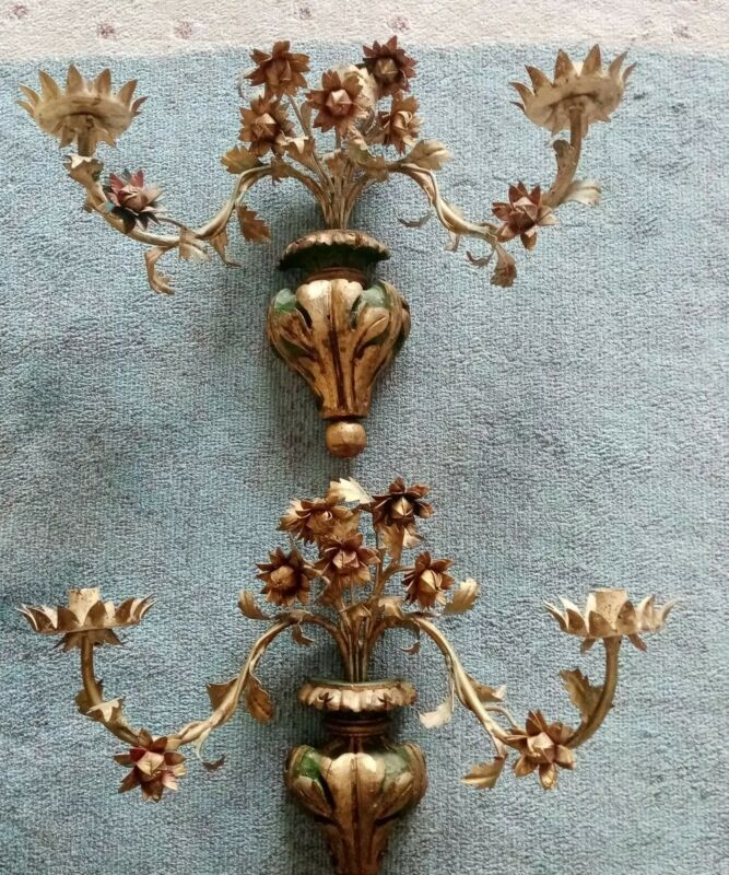 Pair of Vintage Italian Gilt Tole Wall Sconce Candle Holders Metalware Flowers