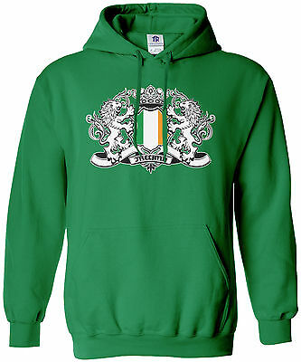 Threadrock Men's Ireland Lion Crest Flag Hoodie Sweatshirt Irish Flag