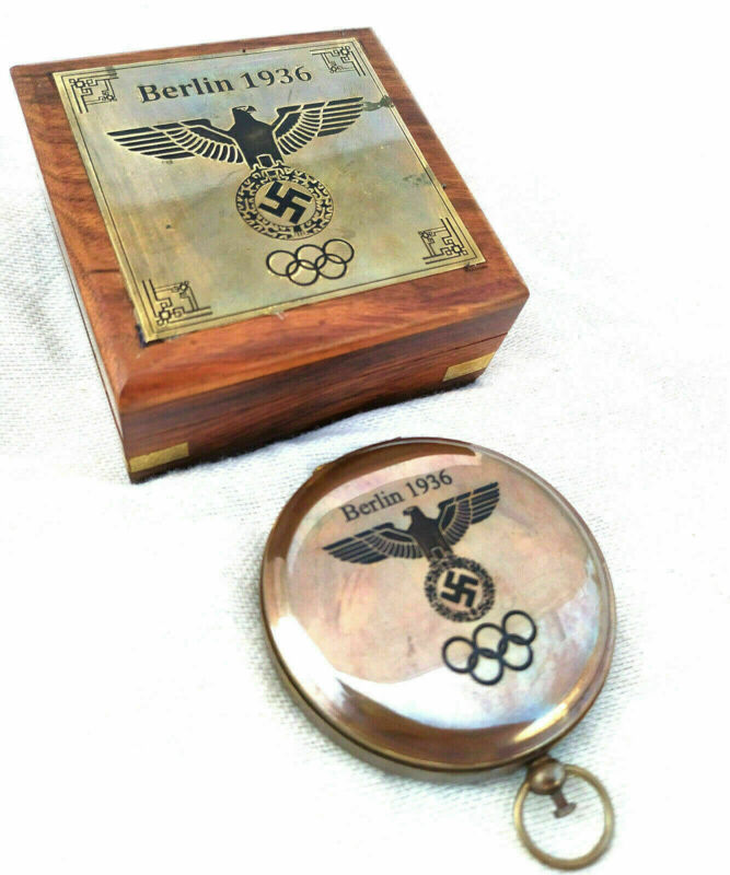 Brass Berlin 1936 Olympic compass push button compass antique with box