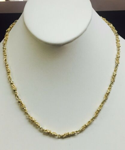 10kt Solid Yellow Gold Handmade Nugget Link Chain/necklace 20 24 Grams 4.5 Mm