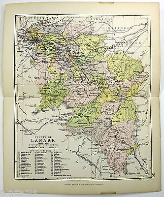 Original Philips 1882 Map of The County of Lanark, Scotland