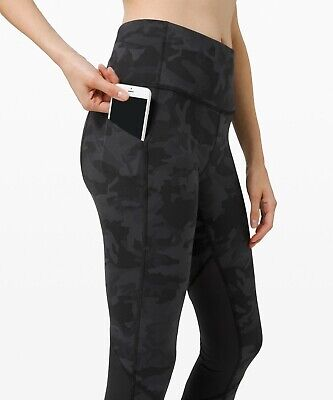 """Lululemon Pace Rival High-rise Crop 22"""" In Incognito Camo Grey/black UK10 US6"""
