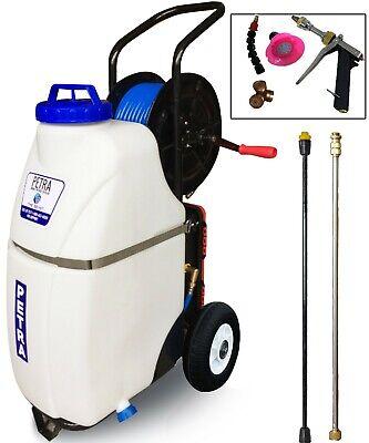 Petra Battery Powered 12 Gallon Cart Sprayer - 100 Foot Hose, 2 Wands, Nozzles Gallon Power Sprayer