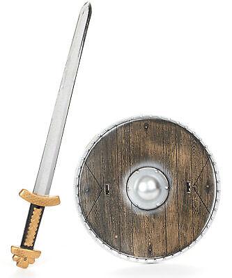 Krieger-Set für Kinder Schild und Schwert braun-silber-gold - Krieger Schild Kostüm