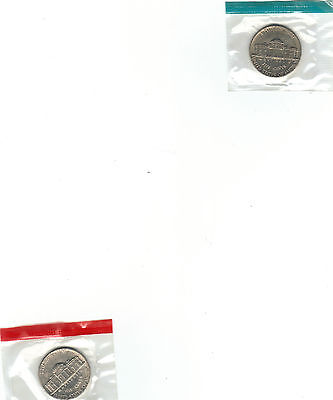 1986 P D UNCIRCULATED JEFFERSON NICKELS STILL IN MINT CELLO NICE
