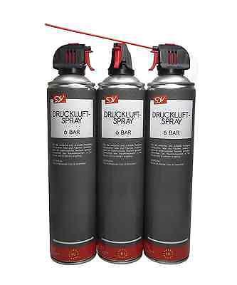 DRUCKLUFTSPRAY 3x 600ml * 6 BAR * Air Duster Druckluftreiniger Druckluft Spray