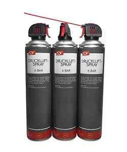 DRUCKLUFT REINIGER SPRAY 3 Dosen x 600ml !! 6 BAR !! Air Duster Druckluftspray