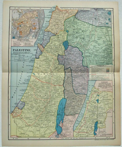 Palestine - Original 1903 Map by Dodd Mead & Company. Antique