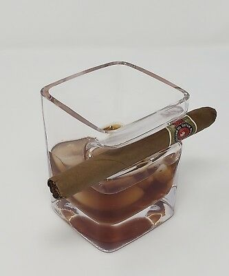Whiskey Trifocals with Cigar Holder, Premium Hand Made Liquor Glass Holding Cigars