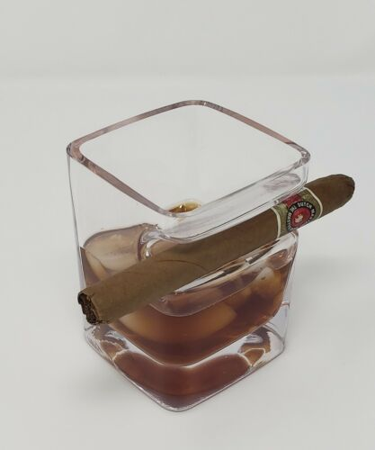 Whiskey Glass with Cigar Holder, Premium Hand Made Glass Holding Cigars