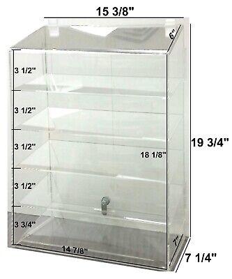 Hi Quality Clear Acrylic Retail Display Case 5 Shelf Wdbl Security Lock Usa